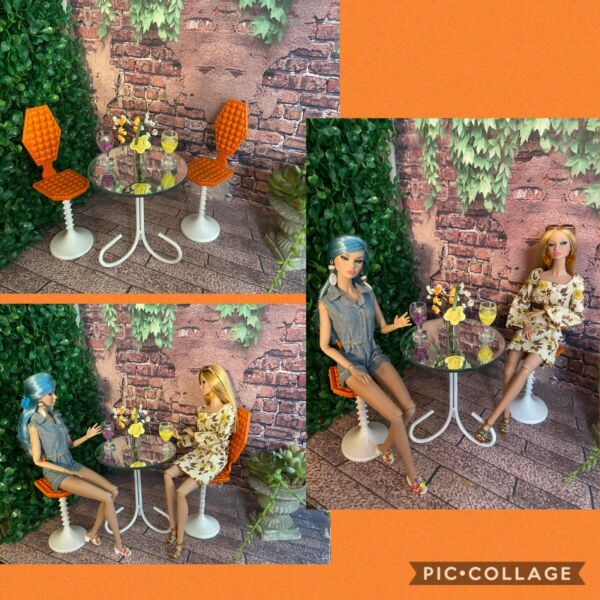 BARBIE amp; POPPY PARKER OOAK Custom Patio Bistro Table amp; chairs no dolls $36.99