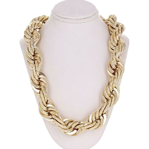 Men's Solid 14k Yellow Gold Diamond Cut Rope Chain 30