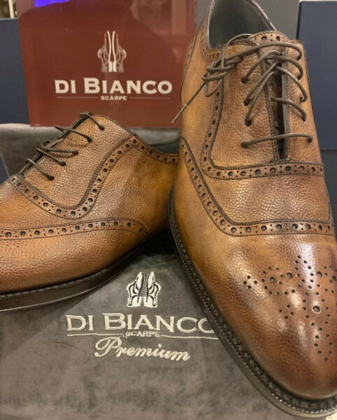 Di Bianco Premium Oxford Handmade Shoes Brown Size 10.5 SBP940 NEW $1095.00