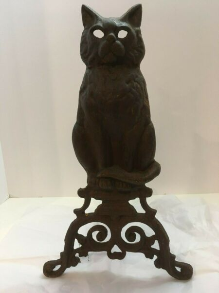 Antique Cast Iron Cat Andiron