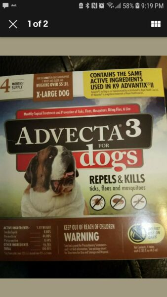 Advecta 3 for X Large Dogs gt;55 lbs 4 Month Supply New $19.50