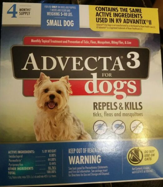 Advecta 3 for Small Dogs 5 10 lbs 4 Month Supply New $13.99