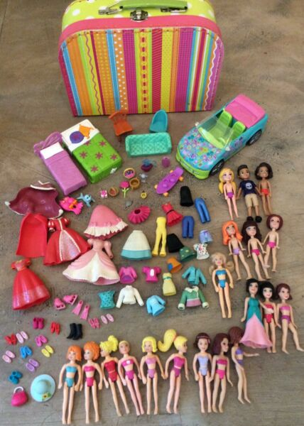 Polly Pocket Dolls Clothing Shoes Accessory Car Furniture & Case Lot Over 70pcs