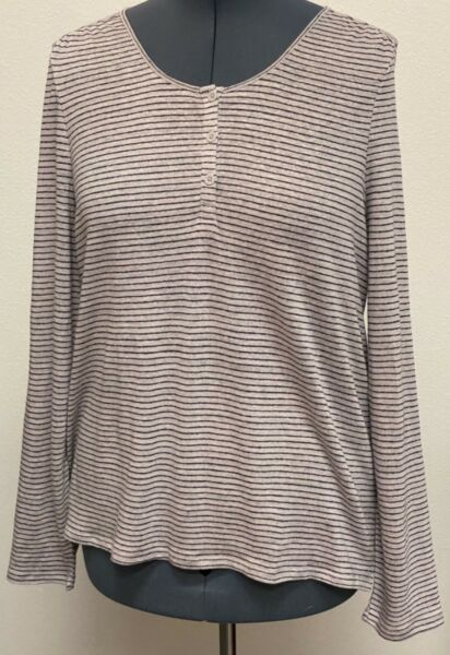 Garnet Hill XL Blue Gray Organic Linen Stretch Jersey Hi Low Long Sleeve Top $16.99