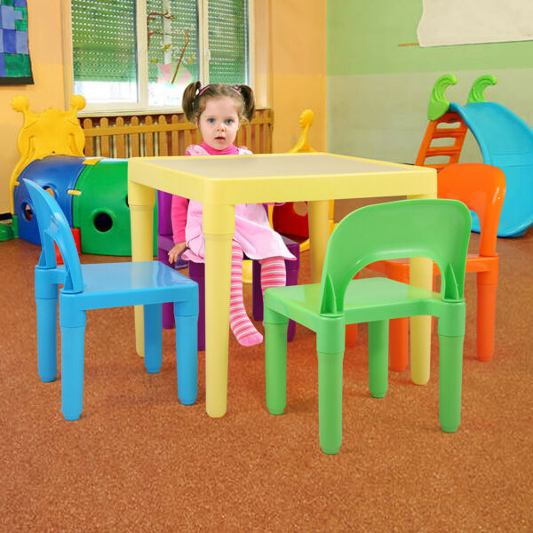 Kids Table Set W/ 4 Chairs Children Home Dinning or Play Activity Fun  Furniture
