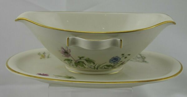 Franconia Krautheim Meadow Flowers Gold Trim Gravy Boat Attached Underplate