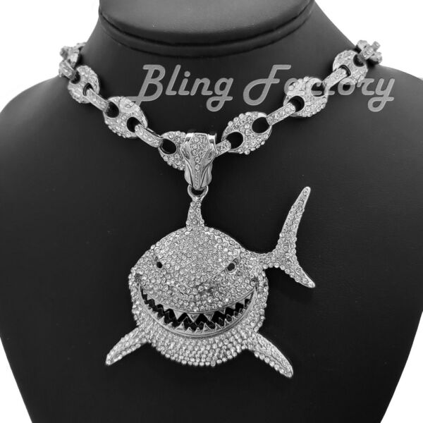 Large Shark Bling pendant amp; 18quot; Full Iced Gucci Choker Chain Hip Hop Necklace $46.54