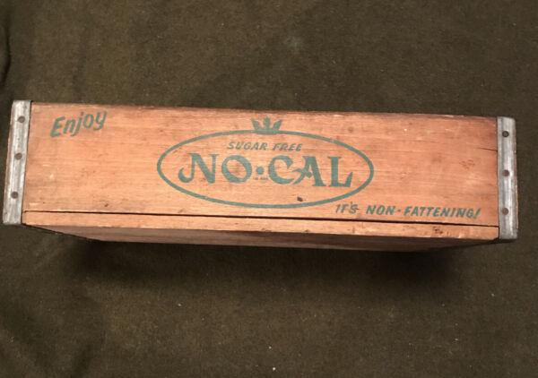 """OLD VINTAGE WOOD WOODEN Rare No Cal BEVERAGE SODA BOX CRATE """"It's Non fattening"""""""