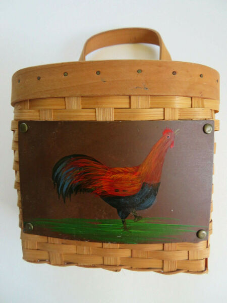 Vintage Wood Woven Basket Wall Hanging With Handle amp; Hand Painted Rooster Design $19.97