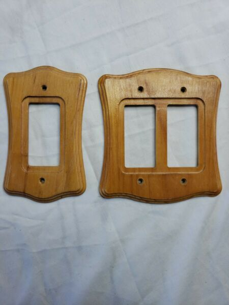 Light Wood Switch Plate Cover Combo Double Rocker GFI DuplexSingle Rocker $13.86