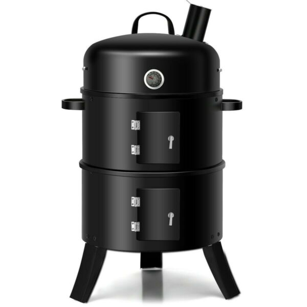NEW Charcoal Grill Smoker BBQ Built in Thermometer Round 3 in 1 Portable