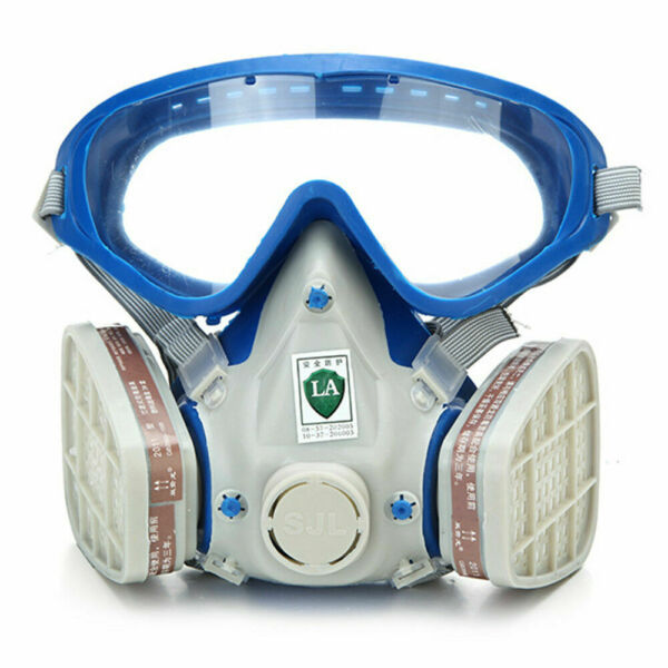 Full Face Respirator Gas Goggles Paint spraying Chemical Double Filter Breathing $24.99