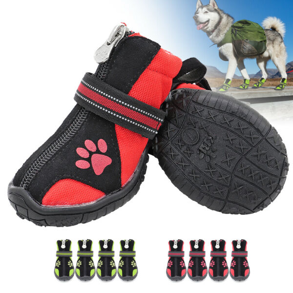 4pcs Winter Boots for Dogs No Slip Dog Hiking Shoes Water Resistant Reflective $15.99