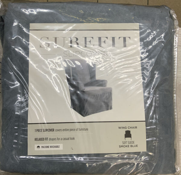 ✅ SUREFIT SLIPCOVER ‼FOR WING CHAIR Soft Suede Smoke Blue‼ $42.99