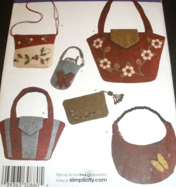 SIMPLICITY PATTERN 3715 WASHED FELT ACCESSORIES amp; FELTED BAGS PURSE UNCUT $7.99