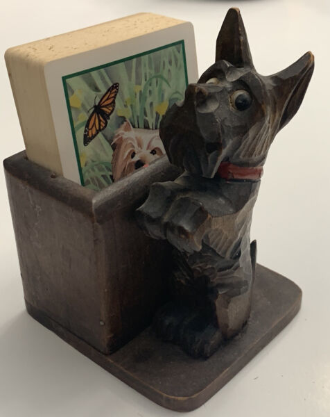 Wood Carved Dog Holder for Playing Cards amp; Playing Cards With Dog Picture $18.97