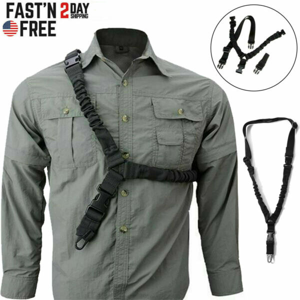 Tactical One Single Point Sling Strap Bungee Rifle Gun Sling with QD Buckle NEW $8.99