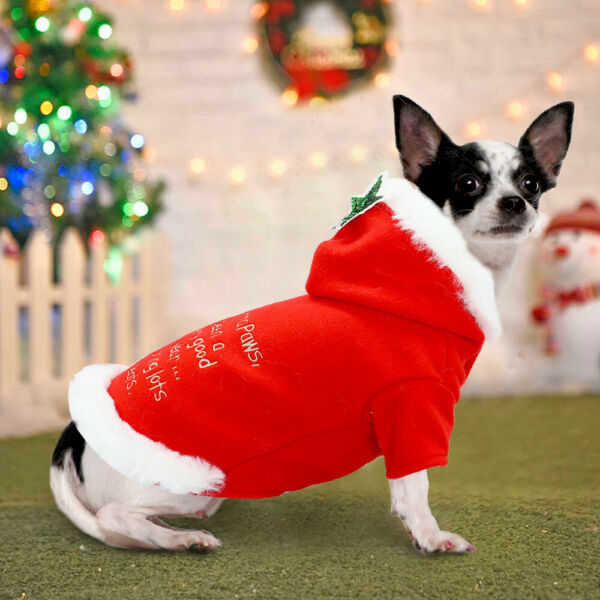 Christmas Dog Clothes for Small Dog Warm Dog Costumes Winter Hoodie Dress Outfit $11.99