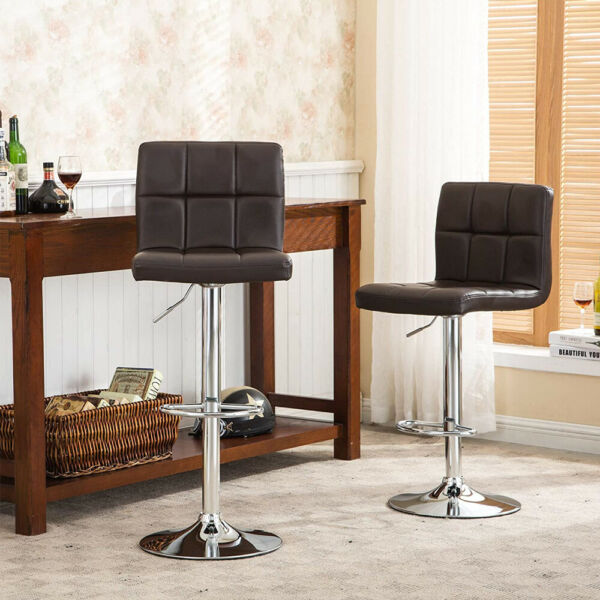 Set of 2 Counter Height Bar Stools Leather Adjustable Swivel Pub Chairs New USA