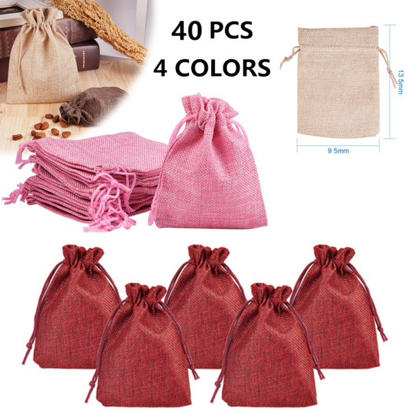 40 X Natural Jute Hessian Drawstring Pouch Burlap Wedding Favor Gift Bags USA