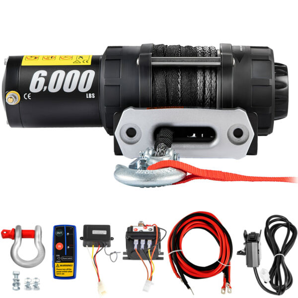 6000LBS Electric Winch 12V Synthetic Rope Tow Truck Trailer ATV UTV Offroad Boat $184.98