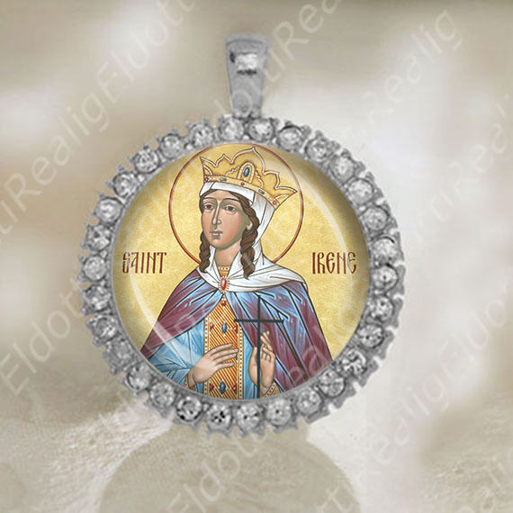 St Irene Great Martyr of Thessalonica Medal Orthodox Saint Silver Tone Jewelry $23.60