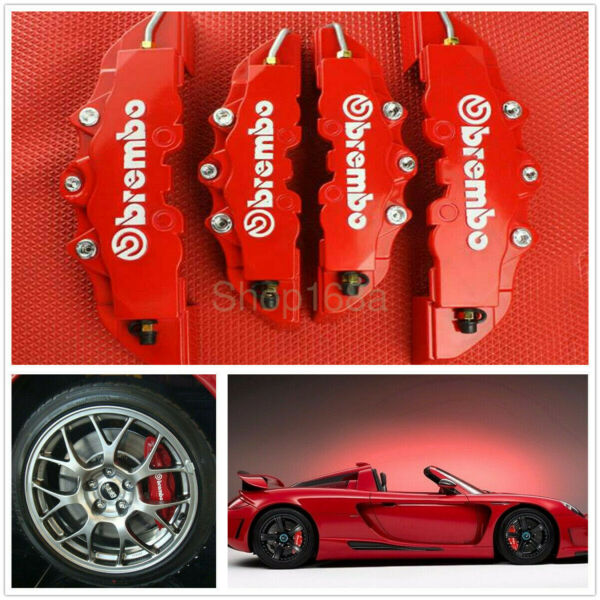 4pcs Front amp; Rear Universal Red 3D Brembo Style Car Disc Brake Caliper Covers