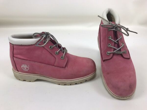 Timberland Pink Waterproof Leather Lace Up Ankle Boots Women#x27;s US 7.5M 23348 $49.99