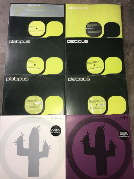 "Platipus Siesta Records Lot Of 8 Techno Trance 12"" Dance Mix $24.00"