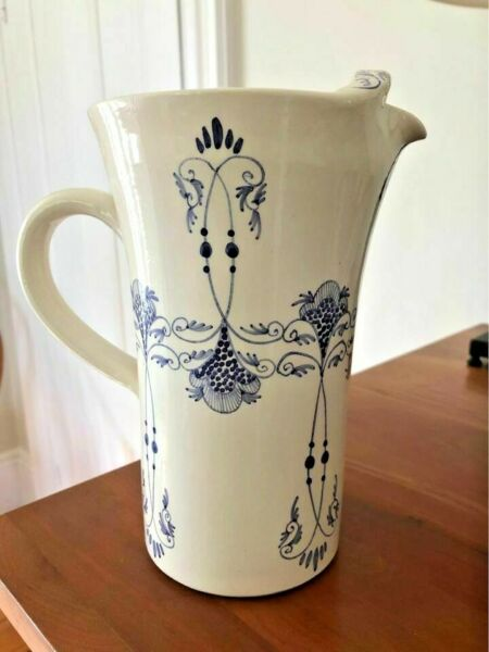 "FRENCH vintage handmade painted POTTERY Helene PROVENCE Blue 8.5"" Pitcher NICE"