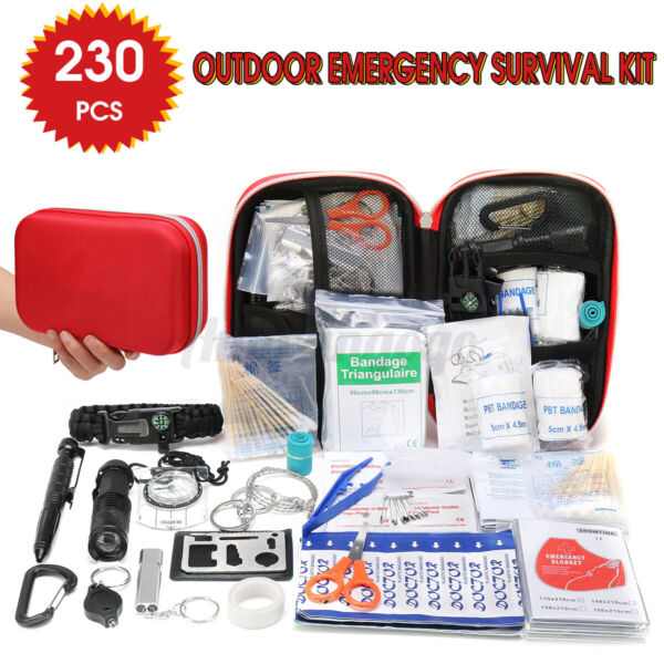 230PCS Set Outdoor Travel First Aid Kit Emergency Survival Gear SOS Medical Bag