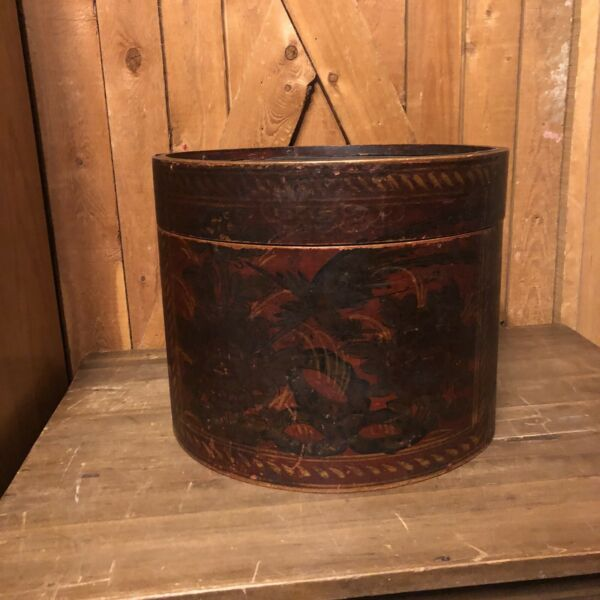 ANTIQUE LARGE WOODEN PANTRY BOX Lid Painted Hat Cheese All Wood No Metal Corded