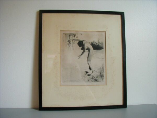 BEAUTIFUL NUDE ETCHING BY GERMAN ARTIST CARL BAUER 1897 1989 SIGNED IN PENCIL
