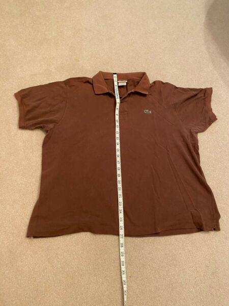 LACOSTE Polo Shirt Short Sleeved Mens 7 XL Izod Brown