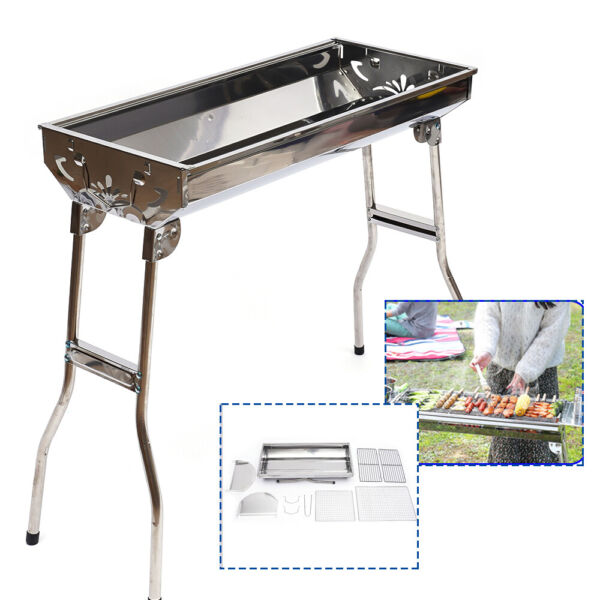 Portable Barbeque Grill BBQ Kabab Kabob Stove Stainless Charcoal Grill Camping