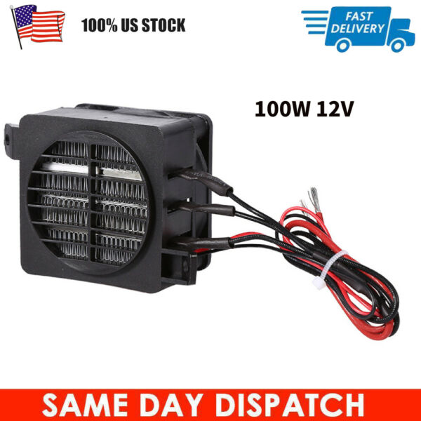 100W 12V Constant Temperature PTC Fan Car Electric Heater Small Space Heating $14.98