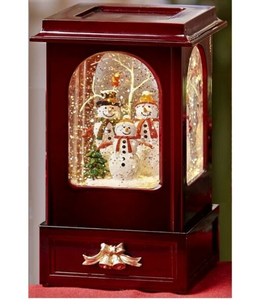 Snowman Family Water Globe Lighted Scene Swirling Snow Vintage styled Cabinet