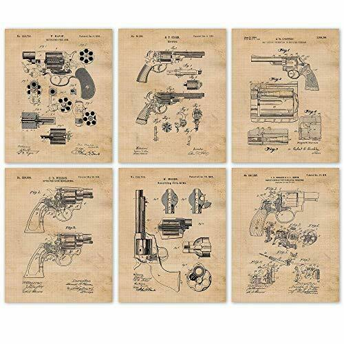 Vintage Revolvers Decor Gun Enthusiast Wall Art 6 Photos 8x10