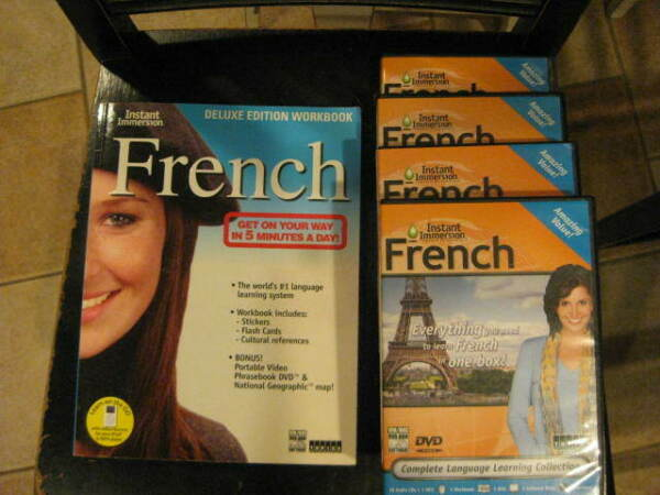 French Instant Immersion Deluxe 16 Audio CDs 1 DVD 2 Software Discs amp; Wrkbok $10.00