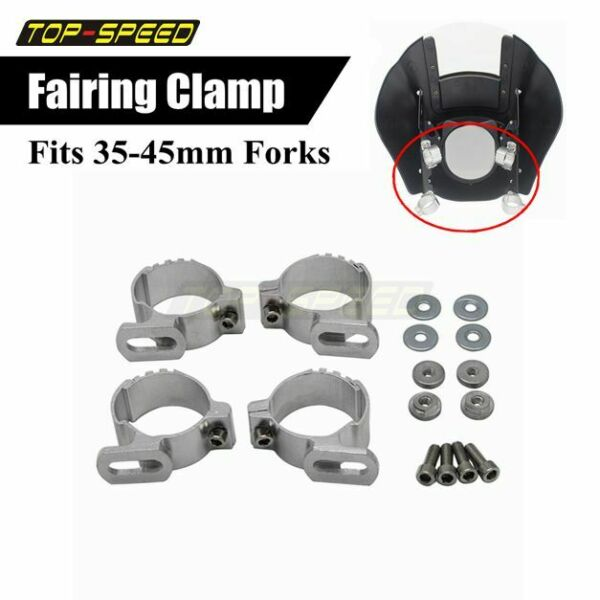 Motorcycle Mounting Fork Clamp Adjustable Fairing Clamps Kit For 35 45mm Forks