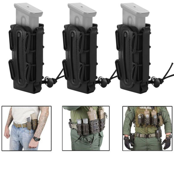 1 2 3 Tactical Scorpion Soft Shell 9mm Pistol Rifle Magazine Pouch Molle Carrier $23.74