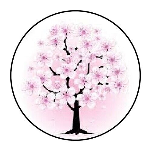 CHERRY BLOSSOM FLOWER TREE STICKER LABEL ENVELOPE SEAL PARTY 1.2quot; OR 1.5quot; ROUND