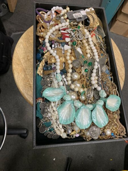 Huge Lot Vintage Now Jewelry Junk Art Craft 1 Pound Box Charms Chains