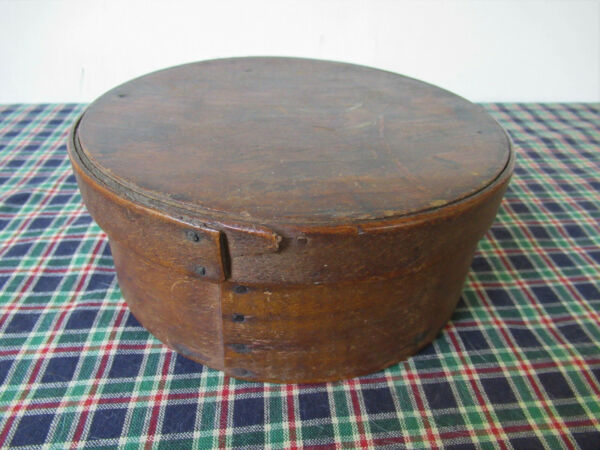 Antique Pantry Box Round Wood Original Finish Primitive Untouched 7quot; x 3quot;