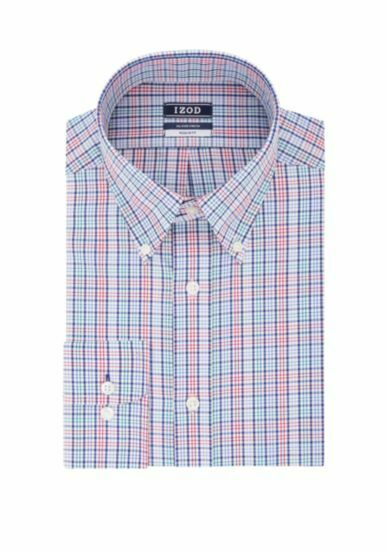 IZOD Regular Fit All Over Stretch Button Down Dress Shirt Men#x27;s Small $52 NWT