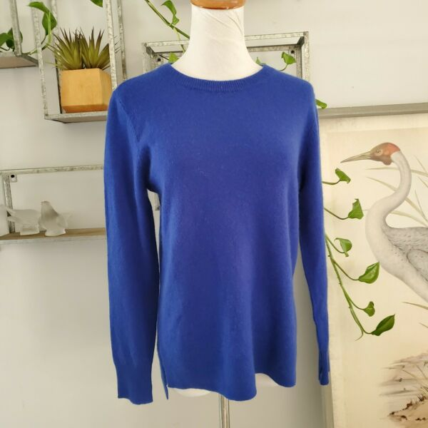 Halogen Cashmere Sweater Top Blue S Petite Pullover Womens Side Slits