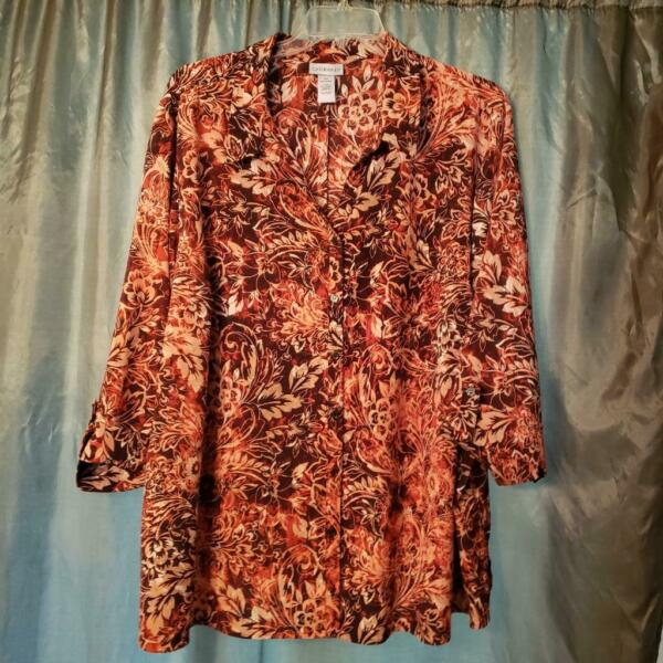 4X 30 32W CATHERINES BUTTON UP BLOUSE MULTI COLOR FLORAL 3 4 SLEEVE POLYESTER