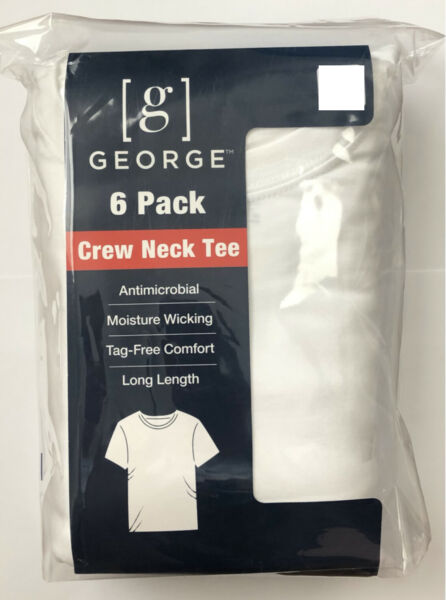 Men's George 6 Pack Crew Neck T shirts White— Size M Short Sleeve