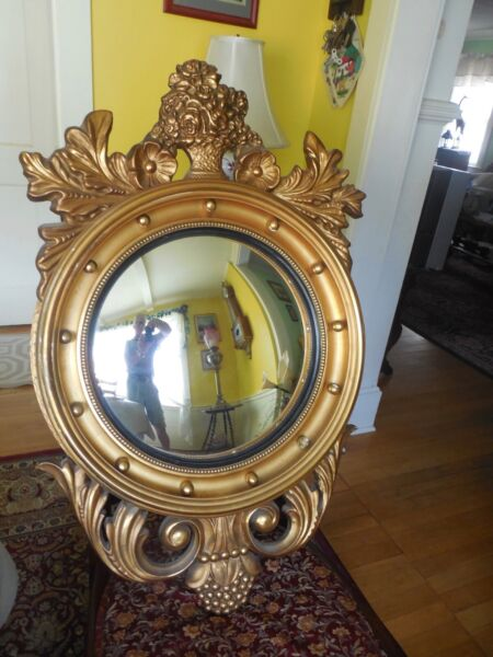 Antique Federal Convex Bullseye Gold Wall Mantle Mirror 13 Colonies