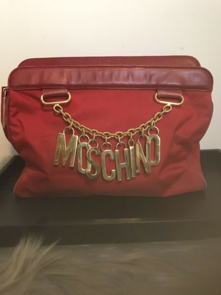 Authentic Moschino Red Clutch Bag Nylon Leather Red Made In Italy $315.00